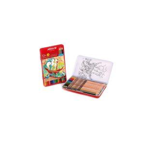 مداد رنگی 3+12 رنگ جعبه فلزی آريا